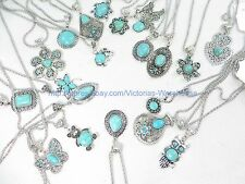 20 pieces turquoise pendant necklaces wholesale gemstone jewelry lot