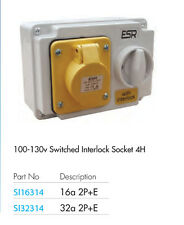 32 Amp 3 Pin Interlock Presa Con Interruttore 100V 130V 2P + T Impermeabile IP44