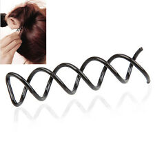 10PCS Spiral Spin Screw Bobby Pin Hair Clip Twist Barrette Black New