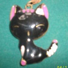NEW Enameled Black Kitten Cat Pendant Necklace     B416K-kk9