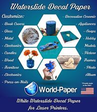5 sheets Premium WHITE LASER waterslide decal transfer paper