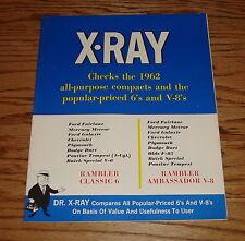 Original 1962 Rambler X-Ray 6 and V-8 Model Comparison Sales Brochure 62 AMC