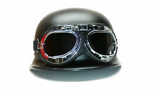 BLACK  WWII STYLE GERMAN MOTORCYCLE HALF HELMET L CHOOPER BIKER & PILOT GOGGLES.