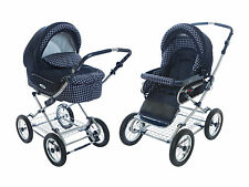 Roan Kortina Pram Stroller 2-in-1 with Bassinet and Seat (Navy - Chequered)