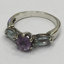 LOVELY .925 STERLING SILVER BLUE TOPAZ AND AMETHYST RING SIZE 6