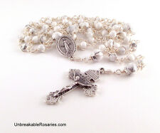 Miraculous Medal Virgin Mary Rosary Beads White Magnesite Unbreakable Rosaries