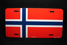 NORWAY FLAG METAL NOVELTY LICENSE PLATE TAG FOR CARS