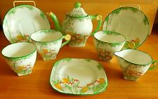 ART DECO DELPHINE CHINA TEA FOR TWO WITH FLOWER HANDLES ENAMELLED TULIPS
