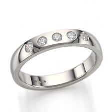 jem: 5-STONE Bezel DIAMOND WEDDING RING in FINE SILVER