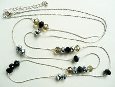 ACCESSORIZE LONG SILVER NECKLACE - FACETED BLACK, SILVER & SMOKEY GREY BEADS_NEW