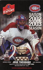 2002-03 MONTREAL CANADIENS HOCKEY POCKET SCHEDULE FRENCH & ENGLISH JOSE THEODORE