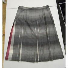 Women's Reversible Plaid Pleated Skirt, Magenta Dark Gray/Light Gray, Size 12 P