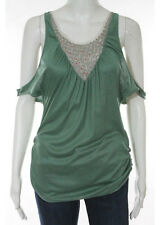 DEVELOPMENT Green Embroidered V Neck Sleeveless Tank Top Sz S