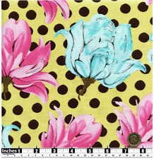 Quilting Fabric Blue Pink Flowers Brown Spots Yellow BG Fat Quarters 100% Cotton
