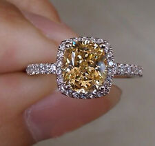 Size 8 Ladys Jewelry 925 Silver Filled Cushion-cut Yellow Topaz CZ Paved Ring