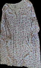 Womens 2X nightshirt nightgown white floral knit just below knee new