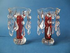 Fine Antique 19th Century Victorian Cranberry Glass Lustres