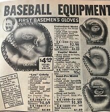 "Rare 1934 Lou Gehrig First Baseman's Gloves Print Ad 4.5"" X 4""! Check Pictures!"