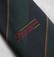 LANHYDROCK GOLF CLUB TIE CORNWALL NAVY GREEN STRIPED BY MADDOCKS & DICK VINTAGE