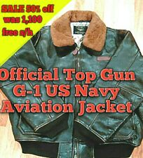 Top Gun Vintage Official Military Navy G-1 Leather WW2 Pilot Bomber Jacket,Br,XL