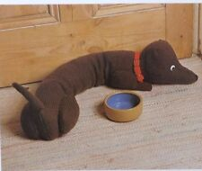 Dog Toy Dachshund Knitting Pattern Vintage Stuffed Draught  Excluder DK 85cm