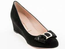 New Donna Serena Black Suede Leather Made in Italy Shoes Size 38 US 8