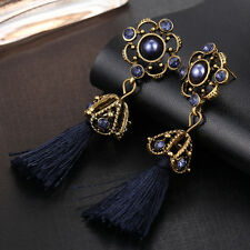 New Fashion Women's Bohemian Vintage Flower Long Tassel Dangle Hook Earrings