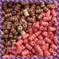 100 Perles Bois Tube 2 coloris Marron Foncer / Rouge