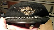 VINTAGE HARLEY DAVIDSON WOOL & LEATHER CAP & LEATHER WALLET WITH HEAVY CHAIN