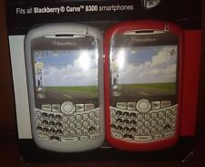 Gray and Red Blackberry Curve Silicone Skin Case Set
