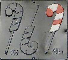 Candy Cane Lollipop Chocolate Candy Mold Christmas  2041 NEW