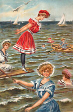 Vintage Decorative Victorian/Edwardian Beach/Seaside Scenes Colourful A4 Print10