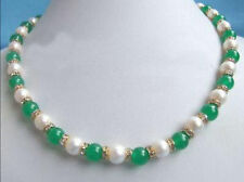 "Excellent Genuine White Pearl Green Jade 18KGP Crystal Necklace 18""A+++"