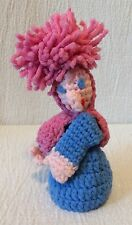 Handmade Knitted Witch Finger Puppet Pink Hair