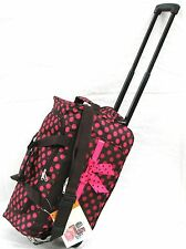 """20"""" 40LB. BROWN w LG PINK POLKA DOTS ROLLING WHEELED DUFFLE BAG LUGGAGE CARRY ON"""