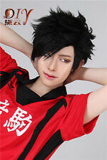 Men Short Black Straight Cosplay Wig Layered Hair Haikyuu Kuroo Tetsurou Costume