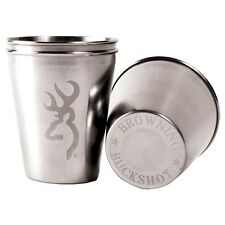 BROWNING BUCKMARK ETCHED LOGO SHOT GLASS - STAINLESS STEEL - 2 PACK - BUCKSHOT