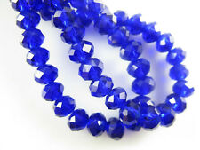 100Pcs Royal Blue Crystal Glass Faceted Rondelle Beads 4mm Spacer Finding Charms