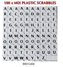 New 100 x Plastic Scrabble Tiles Letters Alphabet Scrabbles Art Craft WHITE