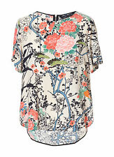 ZARA WOMAN ORIENTAL PRINTED ASYMMETRIC HEM BLOUSE TOP L 12 14!