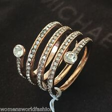 Michael Kors Park Avenue Rose Gold Clear Crystal Spiral Coil Ring MKJ4724 Size 8