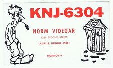 Vintage Outhouse Overalls Postcard QSL Card CB Ham Radio LaSalle Illinois Sharp