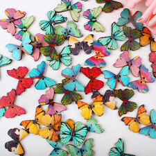 50pcs Handmade Butterfly Wooden Sewing Buttons DIY Scrapbooking Accessories