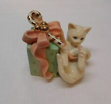 Cat Present Candy Cane Pink Bow Gold Accent Lenox Figurine