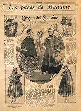 Pages de Madame Fashion Mode Chapeau de Feutre Toque Manteau Costume WWI 1916