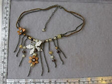 Metal Chain and Leather Choker Necklace with Hanging Pendants