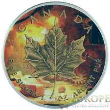2015 1 Oz Ounce Silver Maple Leaf Coin .9999 Antique Finish Captains Cabin Theme