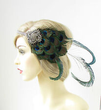 Silver Peacock Feather Headband 1920s Great Gatsby Flapper Headpiece Green 176