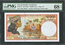 French Pacific Territories ND (1985) P-4f PMG Superb Gem UNC 68 EPQ 10000 Francs