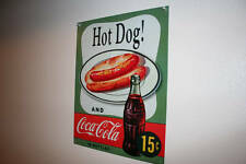 Hot Dog And Coca-Cola In Bottles 15 Cents Metal Sign